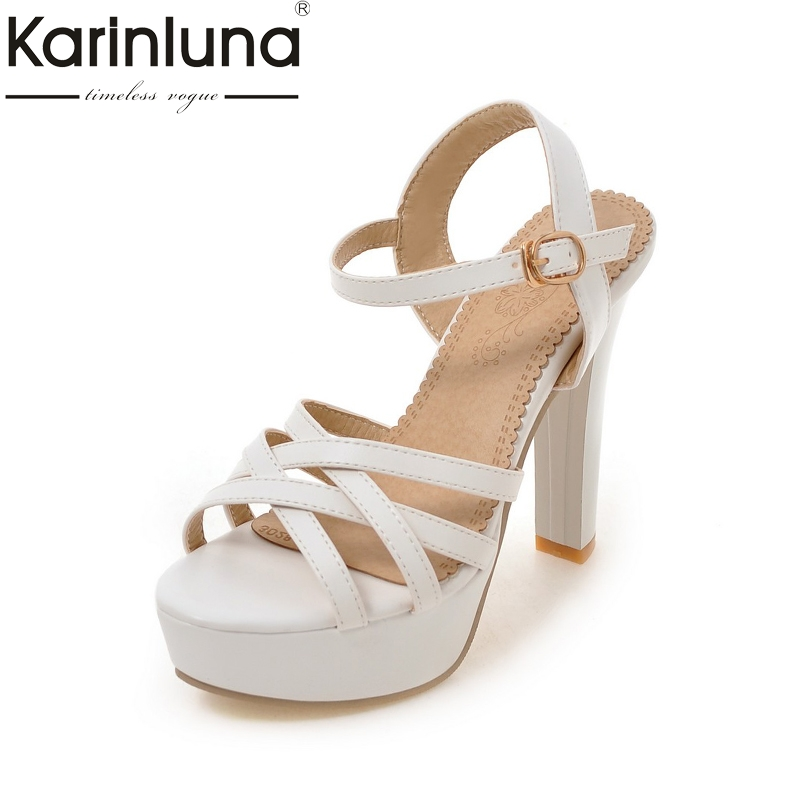 KarinLuna 2018 Large Size 32-43 Platform Ankle Strap High Heels Summer Shoes Sandals Women Sexy Party Black White Sandal
