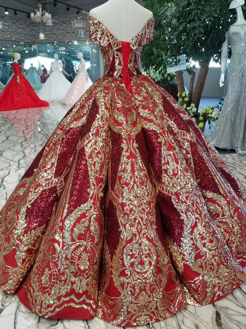 LSS124 高級床の長さの女王ウエディングドレス赤曲線形状夜会服ゴールデンレースイブニングパーティードレス送料無料