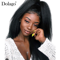 Kinky Straight 360 Lace Frontal Wig Pre Plucked With Baby Hair 180% Density Lace Front Human Hair Wigs Coarse Yaki Dolago Remy