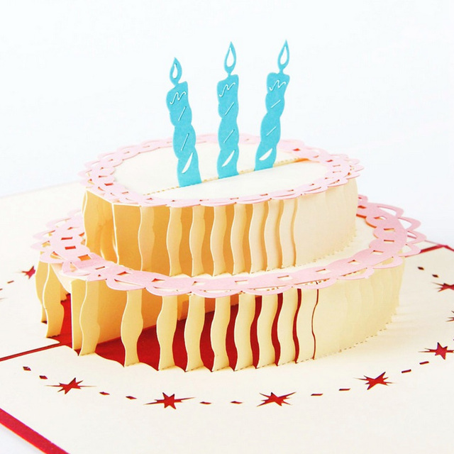 Happy Birthday Cake 3D laser cut pop up paper handmade postcards custom greeting cards wishes gifts for lover CD002