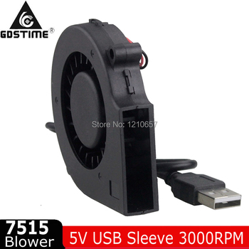 50 PCS Gdstime DC 7515 5V USB 7cm 75mm x 15mm 70mm Turbine Brushless Cooling Blower Fan