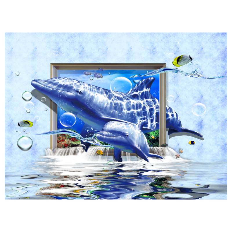 Sin marco de dibujos animados 3d shark pared cuadros para - Posters grandes para pared ...