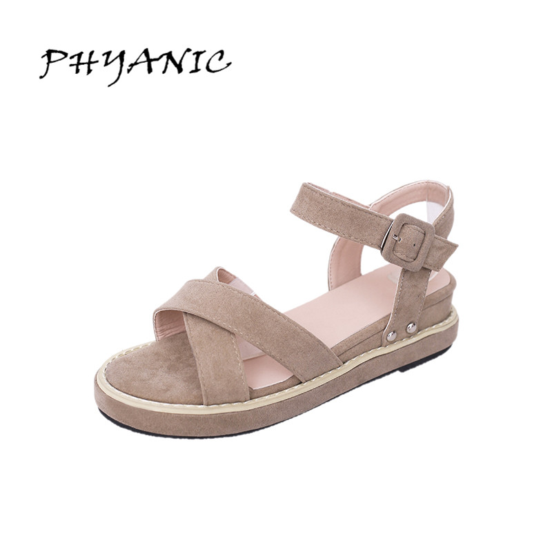 PHYANIC Cross Strap Women Sandals Comfortable Wedge Platform Ankle Strap Summer Shoes Open Toe Flock Footwear Size 35-39 PHY4048 phyanic 2017 gladiator sandals gold silver shoes woman summer platform wedges glitters creepers casual women shoes phy3323