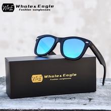 Whale&Eagle Polarized Sunglasses Bamboo Wood Fashion Sun Glasses for Men Women Blue Cool Coated Lens Handmade Brand UV400