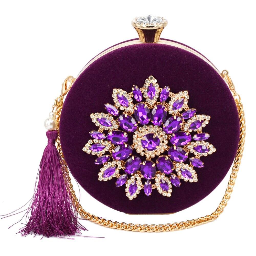 Purple/Rose Roundness Fashion Chain Pochette Flannel Tassels Clutch Bags Party Evening Bags Women Shoulder Bags Wristlets 1746-1