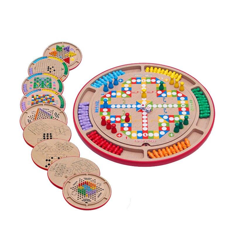 10 en 1 multi-fonction en bois dames d'échecs enfants jouet éducatif Parent-enfant Interaction jeu de Puzzle vol échecs Gobang