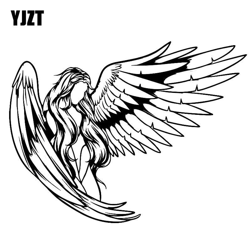 YJZT 18.8*14.4CM Elegant Gorgeous Girl Warrior Angel Car Sticker Silhoutte Design Decal Black/Silver Covering The Body C20-1508