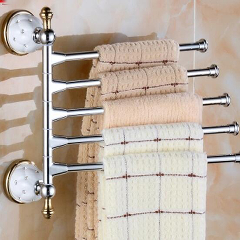Wholesale And Retail Modern Swivel Spout Wall Mounted Bathroom Towel Rack Holder Swive 5 Towel Bars Ceramic Base Crystal Style luxury rose golden copper ceramic base wall mounted bathroom large towel rail bar rack holder shelf bathroom accessory aba383