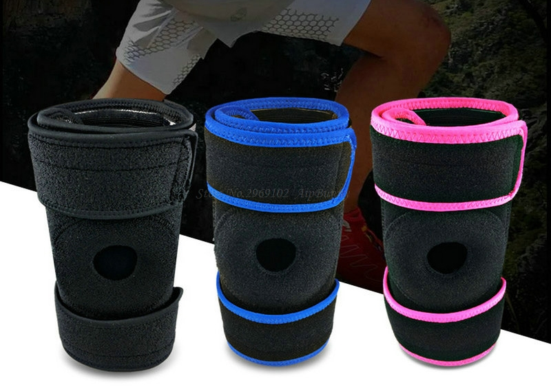 2 Pcs Professional Sport Fitness Powerlifting Knee Protector Adjutable OK Cloth Knee Support Spring Brace for Basketball Running