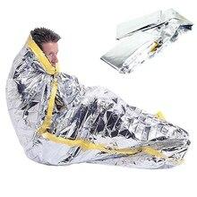 1 м x 2 м Открытый аварийный спальный мешок для одного человека водонепроницаемый спасательный Кемпинг спасательный термальный спальный мешок из фольги