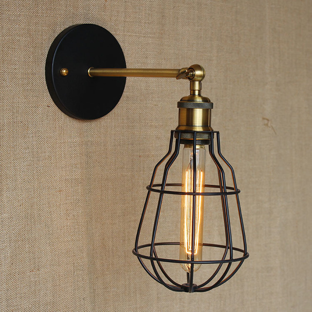 Nordic Creative Contracted Loft Style Iron Wall Lamp Vintage Edison Bulb Coffee Shop Bderoom Decoration Retro Lamp Free Shipping