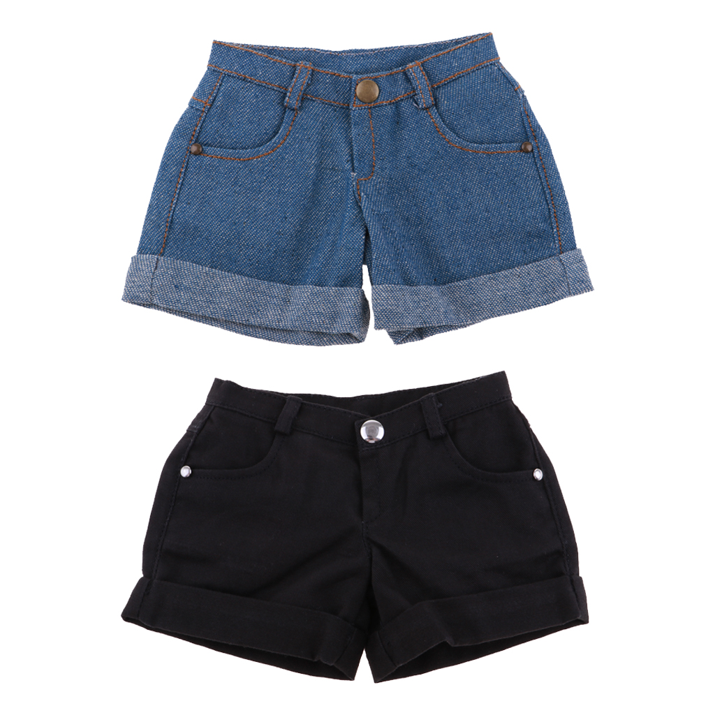 1/3 BJD Smart Doll Clothes Trousers For Dollfie SD DD Cuffed Shorts Casual Outfit Denim & Black