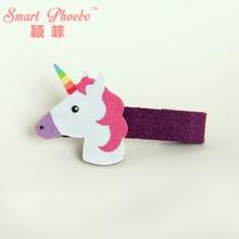 12pcs  Fashion Cute Unicorn Girls Hairpins Kawaii Solid Felt Horse Animal Girls Hair Clips Hair Accessories Headware