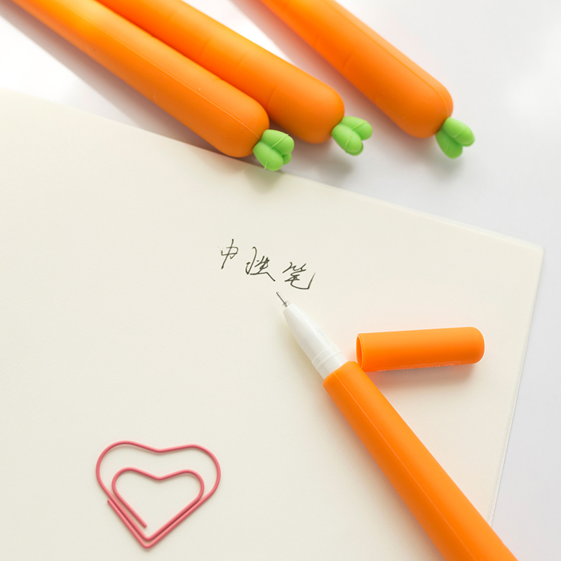 24 pcs/Lot Novelty Carrots pen Silicone body Black ink Cute Vegetable stationery Office school supplies papelaria