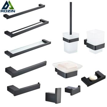 Bathroom Hardware Set Matte Black Paper Holder Towel Rail Rack Robe Hook Toilet Brush Holder Bathroom Accessories