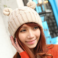 Cute Hemp Flowers Flanging Braided Women Winter Warm Beanie Devil Horns Cat Ear Handmade Crochet Knit Ski Cap Hat Skullies