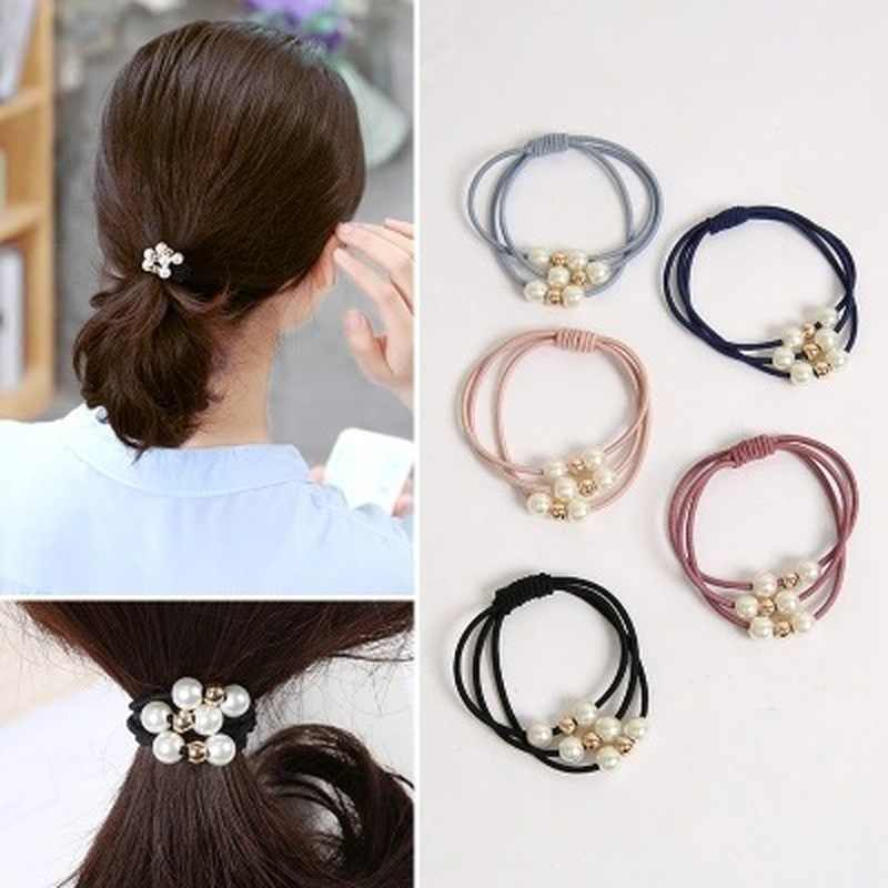 1PC Pearl Sweet Elastic Hair Bands Princess Ponytail Holder Gum For Hair Scrunchies Headband Rubber Band Kids Hair Accessories