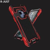 R-JUST לסמסונג S9 יוקרה Case כיסוי עמיד הלם מתכת קשה אלומיניום מקרה טלפון שריון סיליקון רך לסמסונג S9 בתוספת כיסוי