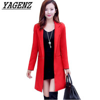 Spring Autumn Women's Blazers Jacket 2018 Korean Slim Elegant Casual Fashion Long Suit Blazer Female Tops Orange White Black Red