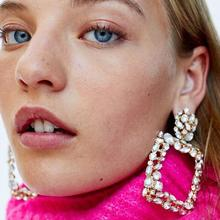 European and American new style disco exaggerated geometry shape earring big brand retro color square drop for women T26