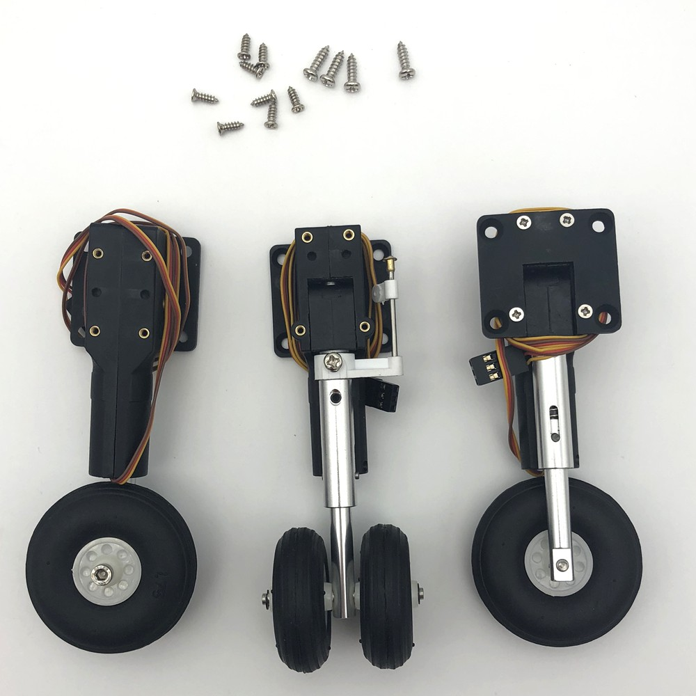 Metal electric retract landing gear shock absorbed with Dual nose wheel for DIY RC airplane jet toy modelMetal electric retract landing gear shock absorbed with Dual nose wheel for DIY RC airplane jet toy model