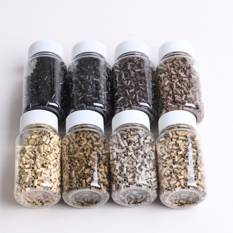 8000 Pieces 8 Colors 3.0x2.6x6.0mm Copper Bell Euro Micro Tubes Micro Beads Rings for I tip Hair Extensions