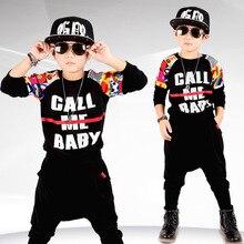 Fashion Boys Clothes Children Thicken Baby Clothing Sets Shirt Pants Set Print Kids Winter Fall Hip Hop Sports Clothes C035