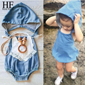Hello Enjoy baby girl clothes casual summer 2016 Brand Blue hooded Imitation cowboy jumpsuit summer newborn baby girl romper