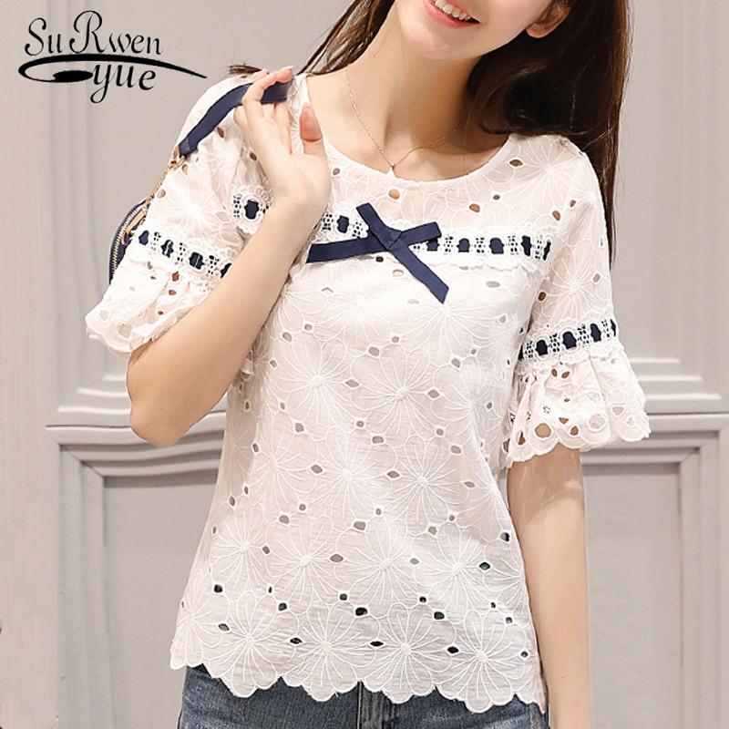 Women tops and blouses blusas mujer de moda 2019 short sleeve ladies tops female hollow lace blouse shirt blusa feminina 0460 40