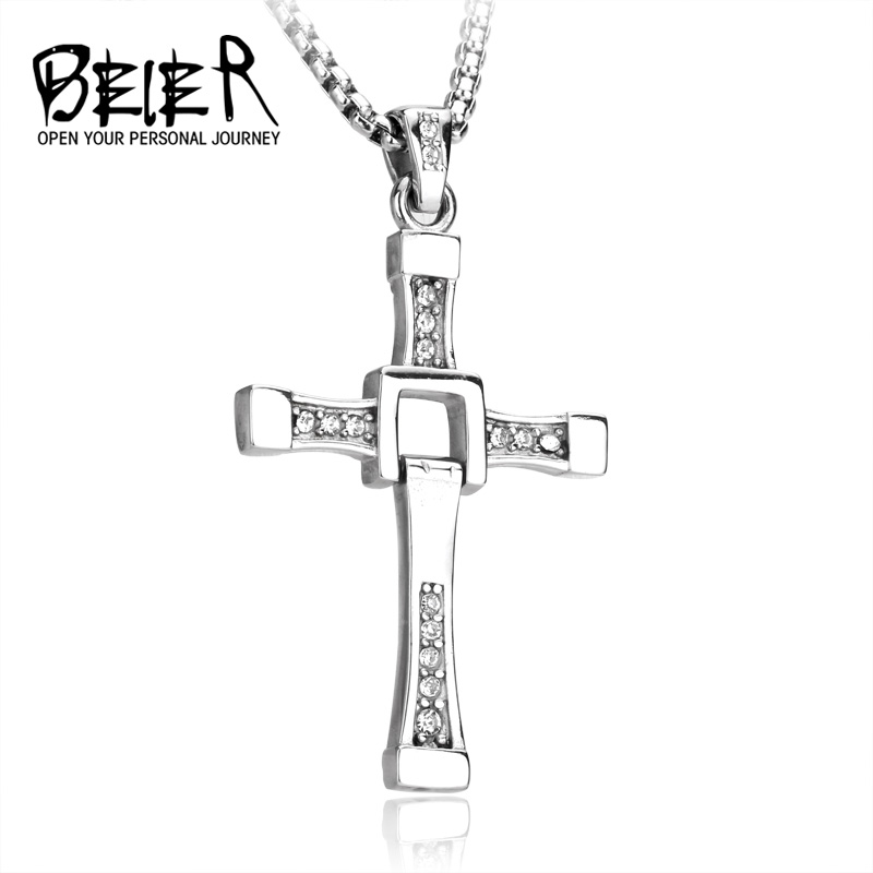 BEIER 2017 New Crystal 316 Stainless Steel Man's High Quality Cross Pendant necklace with stone Silver/Plated-Gold Color BP8-087 gold mtv trophy replica 1 1 size statue moonman prop high quality silver plated 1 1kg