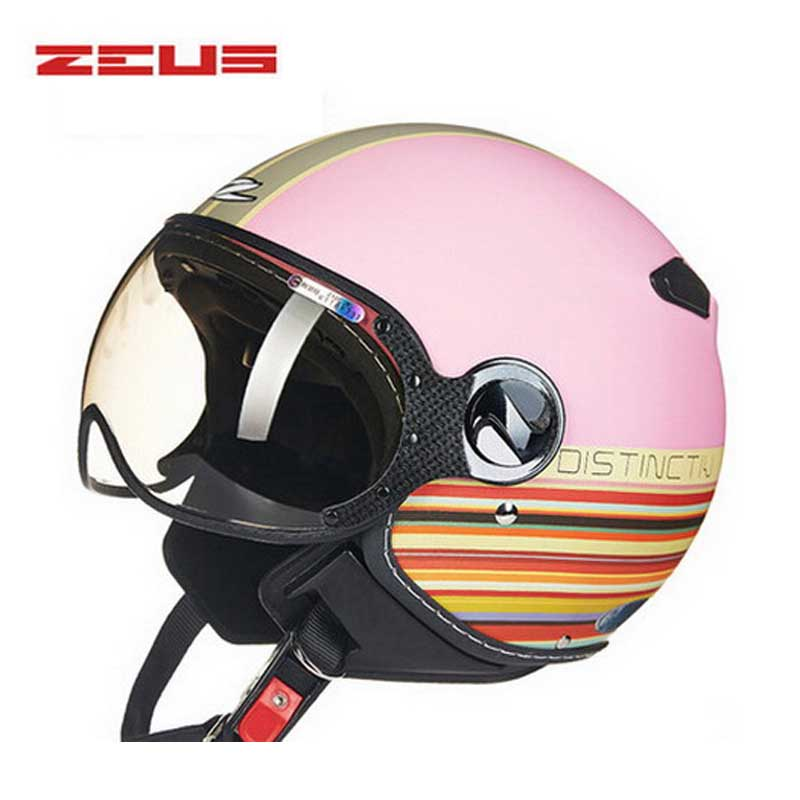 DOT Women pink blue ZEUS ZS-210c half face motorcycle helmet with Lining unpick and wash, motorbike helmets scoote dirt bike цена