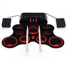 Красный ручной рулон USB электронный барабан 9 Pad складной барабан комплект ПВХ материал барабан Портативный Сложенный для детей начинающих GU37