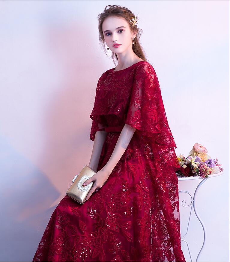Dentelle sequin robe de bal 2019 élégant cape manches graduation robes de soirée longues robes de soirée formelle robe de soirée Vestido de festa - 3