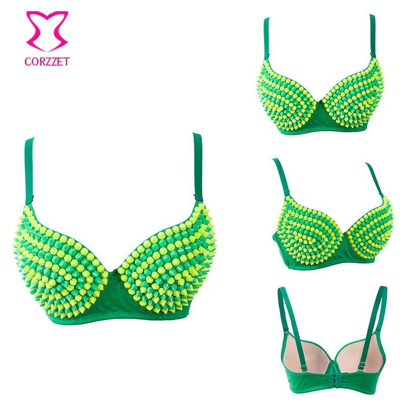 1dc9119953 Green Yellow Resin Beads Stud Push Up Bra Top Underaewr Brazil Burlesque  Bras For Women Corsage Dancewear Bralette Sexy Lingerie-in Bras from  Underwear ...