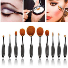 10PCS Professional Toothbrush Design Eyebrow Foundation Power Face Eyeliner Lip Oval Cream Puff Brushes For Makeup Beauty Tools