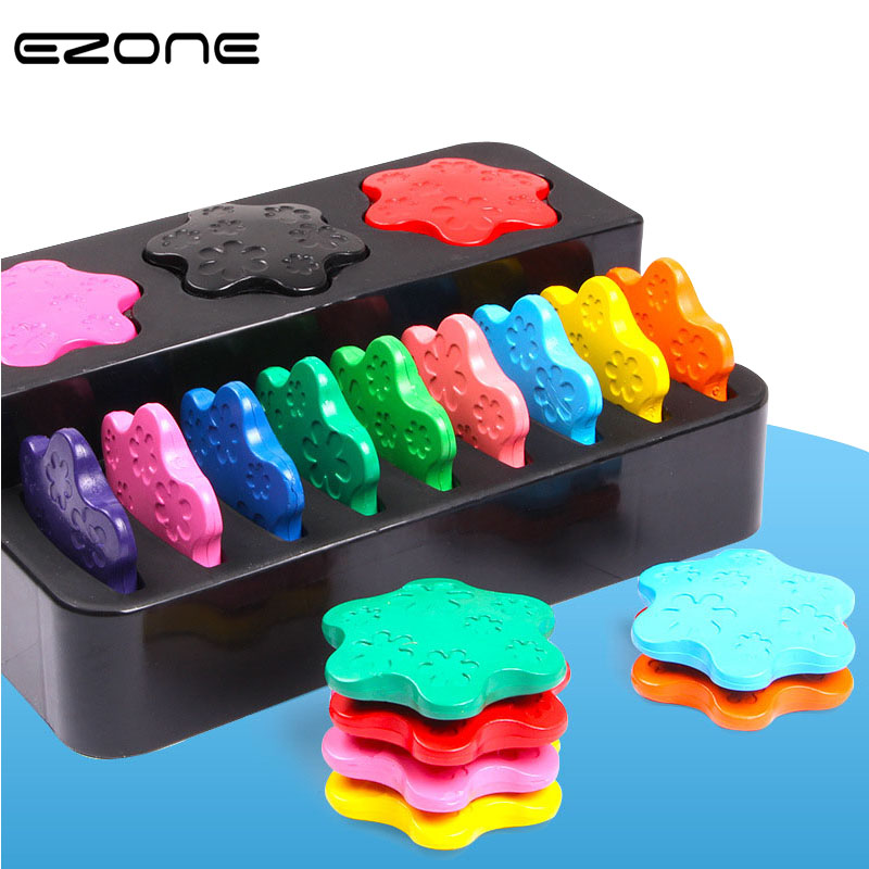 EZONE 12PCS Snowflake Shaped Crayon Safety Baby Kids Learning Painting DIY Drawing Cute Candy Color Crayon Pens Office Supply