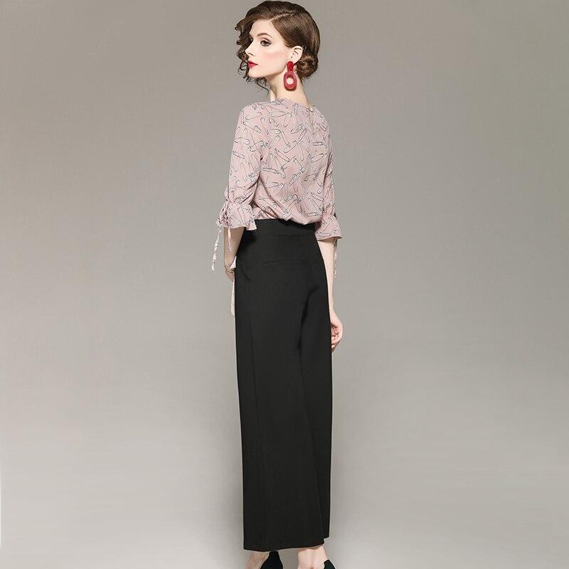 Automne Flare Tenue Large Set Jeu Noir Vêtements Rose Motif Décontractée Manches Femme Pin En Costumes Imprimer Pantalon De Chemise Mode Printemps Bas rqBw0Ar