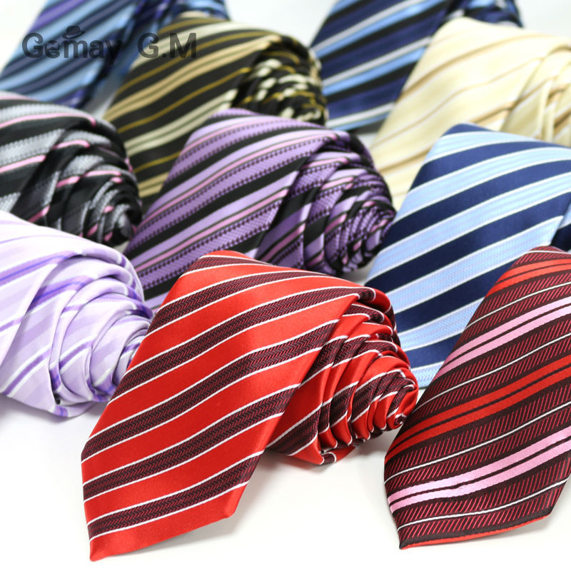 New Polyester Microfiber Woven Men's Neckties Fashion Classic Striped Ties For Man 7.0 Width Neck Tie Free Shipping Wholesale