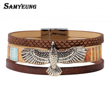 Samyeung Steampunk Rock Silver Eagle Bracelets Homme Leather Bracelet for Women Braclet Men Braslet pulseiras Turkish Jewelry