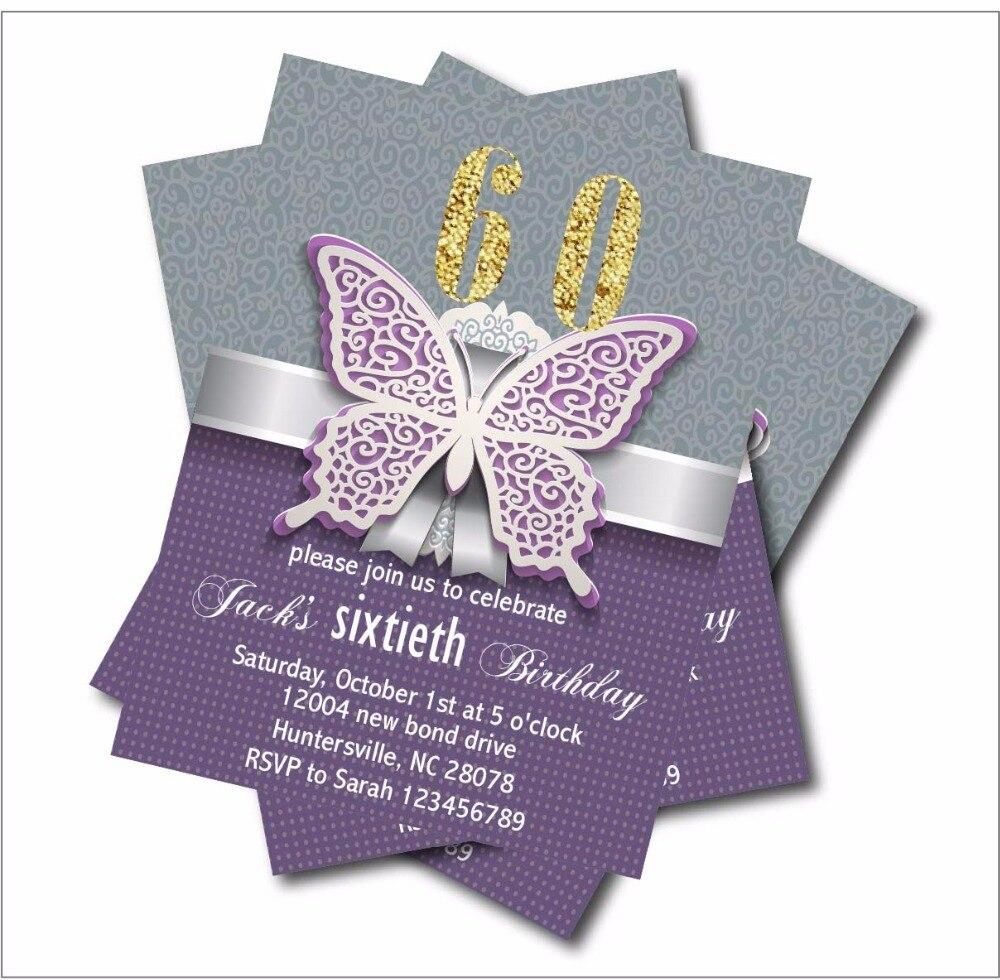 20 Pcs Lot Personalized Adult 60th Birthday Invitations 30th 40th 50th 70th 80th 90th