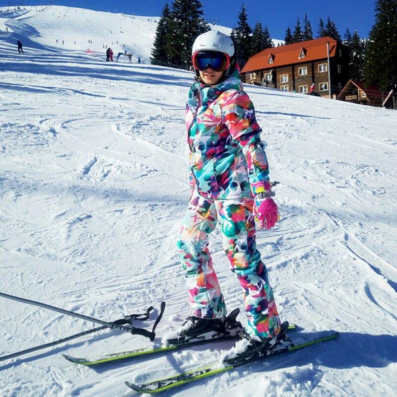 Лыжный костюм женский сноуборд куртка + Двойные лыжные брюки 2018 новые ветрозащитные непромокаемые женские зимние теплые куртки Бесплатная