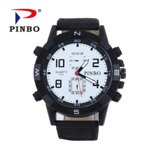 PINBO Men's Watches Fashion Casual Men Watch Top Brand Luxury Leather Business Quartz Watch Men Wristwatch Relogio Masculino P13