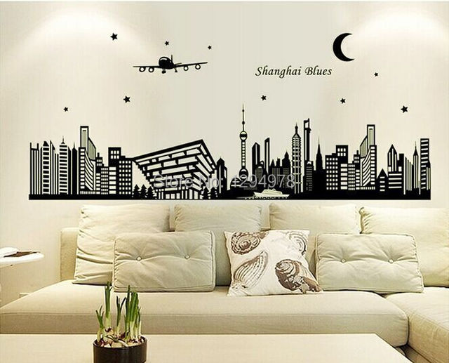 ABQ9636 Shanghai Night Scene DIY Removable Wallpaper Fluorescent Luminous Oriental Pearl Wall Stickers Living Room Mural