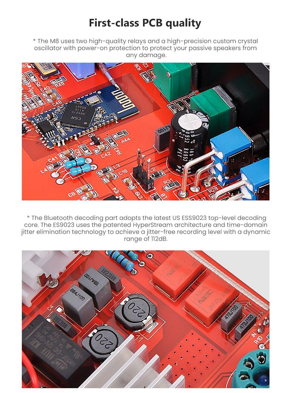 CSRA64215 Bluetooth 倉庫を洗う オーディオパワーアンプと高音低音トーンコントロール 11