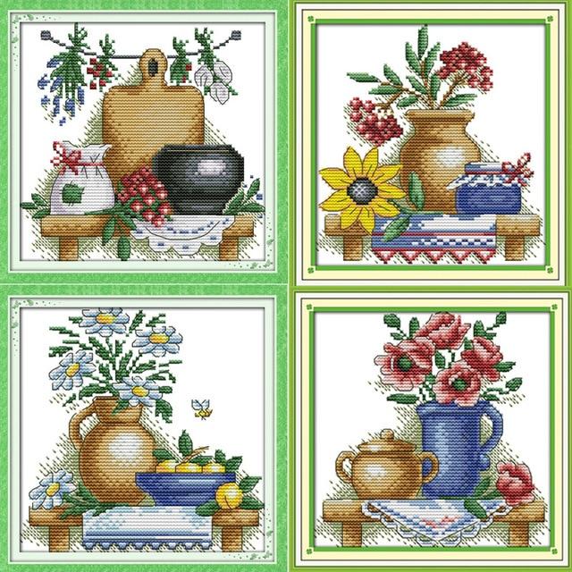 Красивый чайник с цветами Напечатаны на Холсте DMC Счетный Крест Комплекты печатных вышивка крестом набор для Вышивания Рукоделие