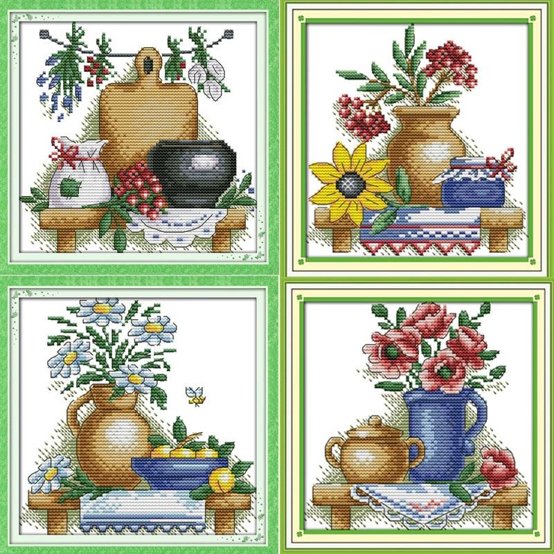 Teko dengan bunga yang indah Dicetak pada Kanvas DMC Dihitung Cross Stitch Kit dicetak Cross-stitch set Bordir Menjahit