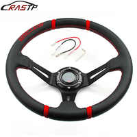 RASTP-Universal 14inch Deep Dish Drifting Sport Steering Wheel Leather Surface Racing Style with Logo RS-STW002