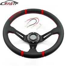 RASTP uniwersalny 14 cal głębokie wygięcie sportowe Drifting kierownicy powierzchni skóry styl wyścigowy z Logo RS STW002