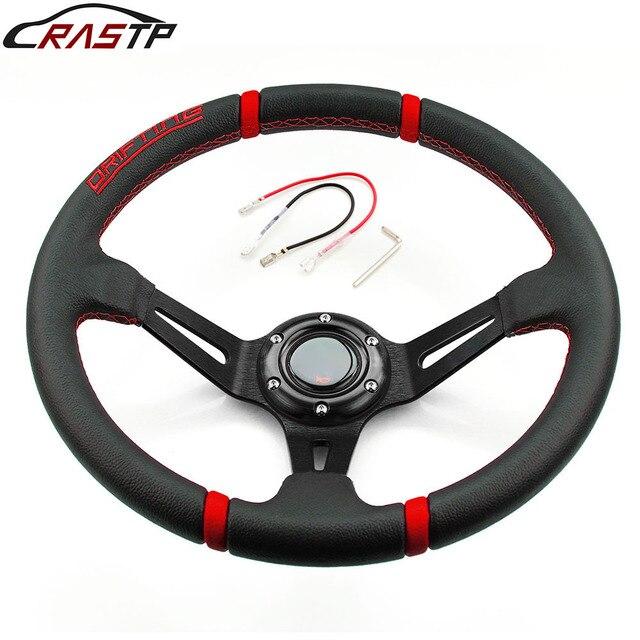 RASTP volante deportivo Universal de 14 pulgadas, con superficie de cuero, deriva profunda, estilo automovilístico, con Logo RS STW002