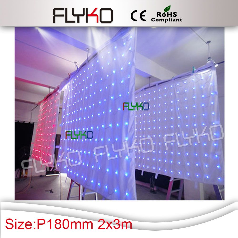 Free shipping 2M*3M P18 hot sale colourful effects led video Curtain